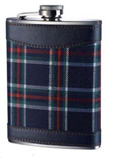 Whisky Hip Flask 6oz Scottish Tartan Designs , Stainless Steel & Leather EffectW