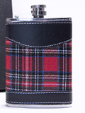 Whisky Hip Flask 6oz Scottish Tartan Designs , Stainless Steel & Leather Effect